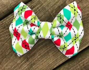 Christmas Argyle Bow Tie