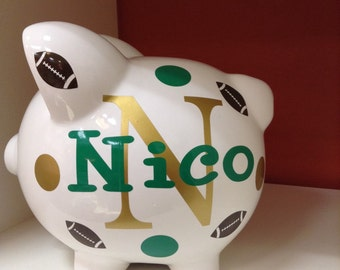 Children's Personalized Ceramic Piggy Bank-Piggy Bank-Football Piggy Bank- Kid's Monogrammed Piggy Bank- Kid's Custom Piggy Bank-Gift- Boys