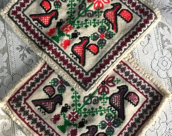 Vintage Handwoven 100% Wool Polish Kilim Dove Pillow Covers-Free Domestic and International Shipping