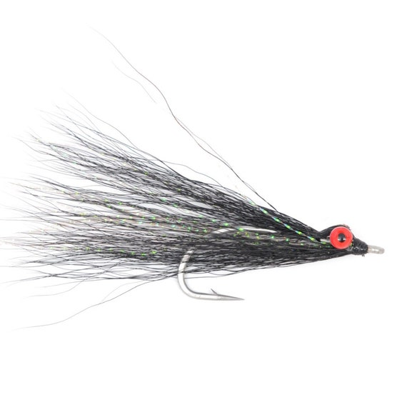 Clousers Minnow Fly Fishing Flies  - Black Clouser Saltwater and Bass Flies - Hook Size 1/0