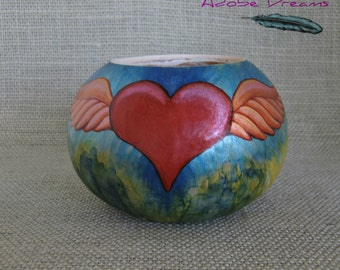 Gourd Art. Heart Gourd. Winged Heart Gourd container. Gourd Container with Heart. Unique Valentine Gift Heart with Wings Treasure Container.