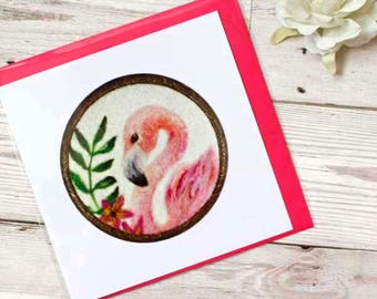 Flamingo Card, Flamingo Greeting Card, Blank Gift Card, Pink Flamingo Card, Flamingo Birthday Card, Flamingo Thank You Card, Handmade Card