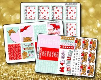 I Love You Teddy Bear Weekly Sticker Kit - Vertical Planner Stickers Erin Condren Life Planner  ECLP Valetine's Day Stickers