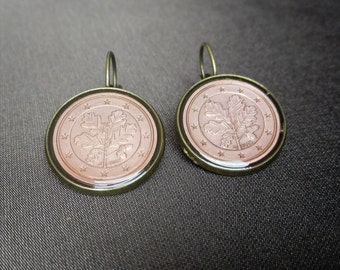 Fashion Resin Coin earrings Handcrafted Jewelry Earrings  Germany Coin jewelry Metalworks Euro  Greetings from Germany, The oak twig