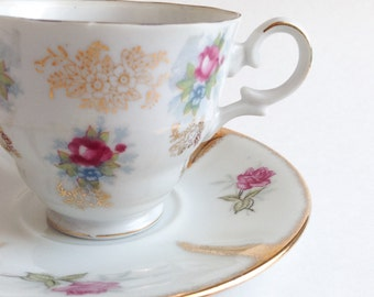 Teacup Shafford with pink flowers and gold made in Japan - Vintage tea cup - Cup and saucer old - Bloomy tea cup