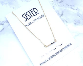 SISTER morse code necklace, morse code jewelry, sister gift, minimalist necklace, dainty bar necklace, simple everyday gold necklace