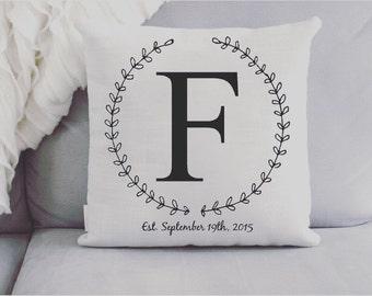 Throw Pillow - Wreath Initial Pillow - Monogram Pillow