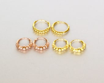Set Of Gold And Rose Gold Ear Hoops, Bali Hoops, 12mm, Gift Ear Hoops, Bridesmaids Gifts, Body Hoops, Minimal Jewelry, E58/59/60
