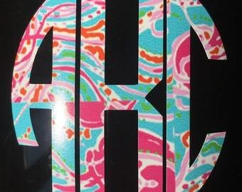 Lilly Pulitzer inspired vinyl monogram decal