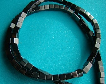 Magnetic Hemalyke 4mm x 4mm  Cube Square Black 16 Inch Strand