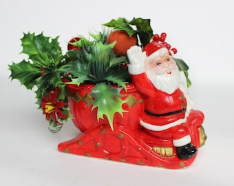 Vintage Napco Santa Sleigh Planter