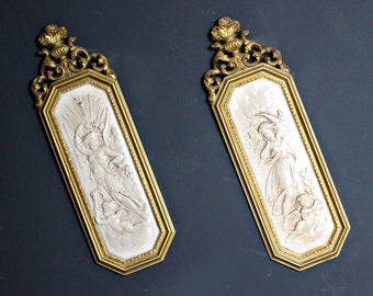 Vintage Pair of Neoclassical Plastic Panels