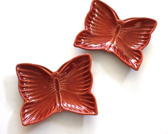 Vintage Pair of Ceramic Butterfly Dishes