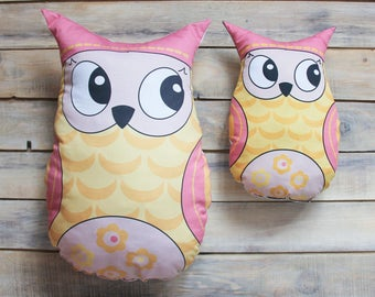 READY TO SHIP! Yellow owl pillow toy