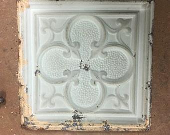 Four Leaf Clover. Vintage ceiling tin panel.