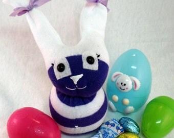 Purple Payton Bunny, Soft Sock Bunny Plush Toy, Easter Bunny, Bunny Plush, Soft Toy, Sock Animal, Bunny, Sock Rabbit, Sock toy, Kids