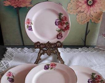 Beautiful balfour side plates / pink floral bone china side plates / pink side plates / afternoon tea plates