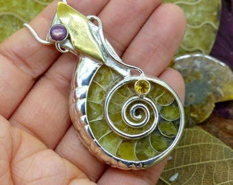Madagascar Ammonite Pendant with Star Ruby and Citrine Gems, Sterling Silver and 18ct Gold, Fancy Statement Spiral Design, Gift Her (7733)