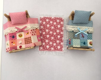 Handmade bedding and rug set to fit Sylvanian Families Twin/Bunk beds