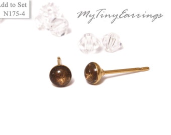 4mm Chocolate Stud Earrings Mini Tiny Shimmery - Gold Plated Stainless Steel Posts plus High Quality Epoxy Resin 175-4