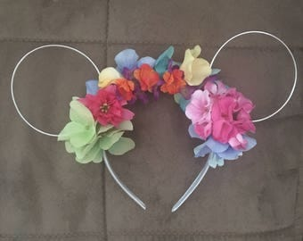 Multi-colored mouse ears flowered headband