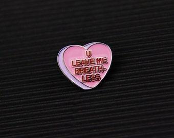 Conversation heart lapel pin