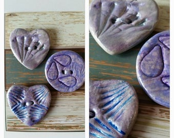 Set of 3 large lilac handmade clay buttons. Round and heart shaped.
