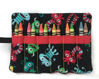 Kids Crayon Holder - Crayon Roll Up - Crayon Wallet - Kids Travel Activity - Child's Gift - Travel Toy - Party Gift - Stocking Stuffer