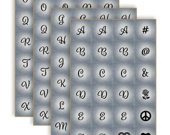 Art Sheets - Script letters, numbers, and symbols