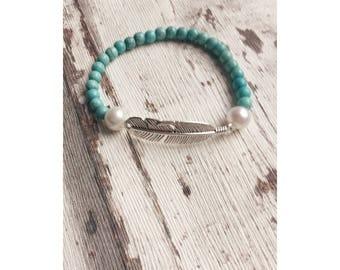 Boho bracelet, turquoise, white, spring, Bohochic, Gypsy bracelet, bead