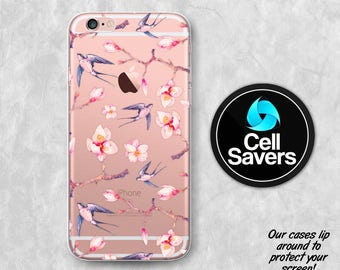 Swallows and Flowers iPhone 6s iPhone 6 iPhone 6 Plus iPhone 6s Plus iPhone 5c iPhone 5 SE iPhone 7 + Tree Branch Blossoms Floral Vintage