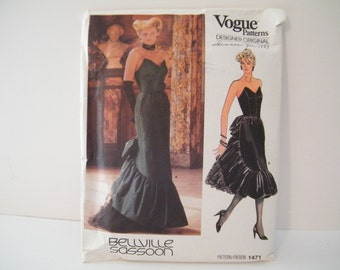 VOGUE 1471  Designer Original Patteryn by Belliville Sasson  Size 10   Used -  Gown - Prom - Evening Dress with ruffle -