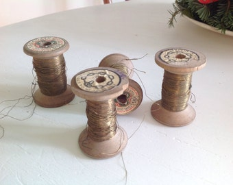 Antique Wood spools sewing Gold Thread 1940s