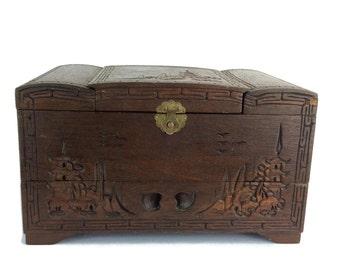 Asian Jewerly Box, Jewelry Organizer, Jewerly Storage, Vintage Jewelry Box