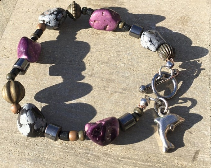 Snowflake obsidian bracelet with a cute dolphin charm