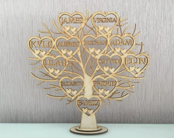 Family tree, mothers day, personalised family tree, wooden family tree, freestanding family tree