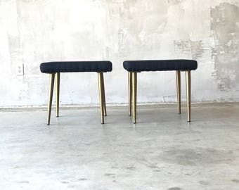 Brass Legged Ottomans/Stools
