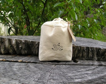 Aum Snack Bag Small, Snack Bags, Nut and Cookie Bags, Eco Friendly Food Bags, Yoga Accesories, Fabric Food Bags, Biodegradable