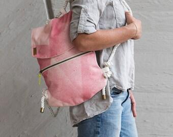 Emerald Backpack, Hand dyed Canvas Bag, Raw Denim Backpack, Vegan Backpack Purse, Vegan Gift for her, Small  Backpack Purse, Mini Backpack