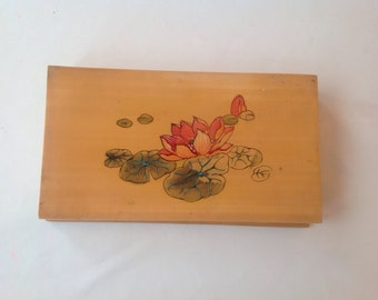 Japanese box with water lily