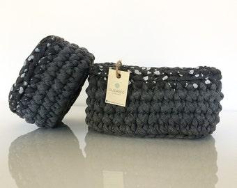 Set di 2 cestini GRIGIO | square crochet baskets
