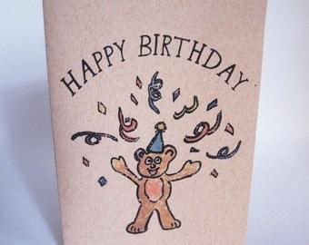 Greeting Card - Happy Birthday party bear