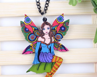 Acrylic colorful motley print fairy pendant