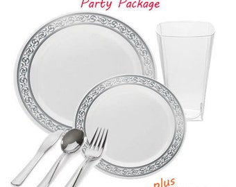 Premium GRAND White and Silver Wedding Package for 120 guests (720 items total)