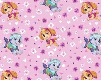 Pink Paw Patrol Pup Power Fleece Fabric Nick Jr - nickelodeon anti-pill polyester kids girls by the yard metre skye everest PW40485ACW3