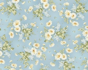 Gentle Breeze Daisies by Jan Douglas  8510M-B flowers, floral, quilting, cotton, maywood studios, fabric, metre, yard