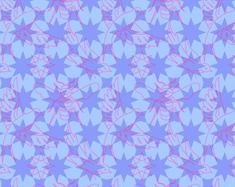 Seventy-Six by Alison Glass Flourish in Periwinkle A-8446-P cotton fabric andover modern material quilting supplies purple blue tonal stars