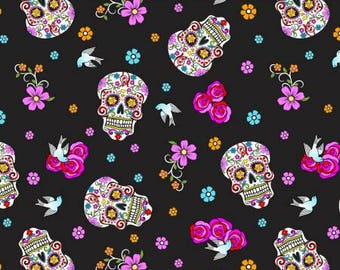 Day of the Dead with Glitter by David Textiles sugar skull flowers floral black folkloric skulls silver pink woven cotton by the yard metre