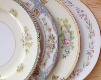 Vintage Mismatched China Salad Plates,Set of 4,Wedding,Bridal Shower,Baby Shower,Sunday Brunch,and Tea Party Dishes,Cottage,Shabby Chic