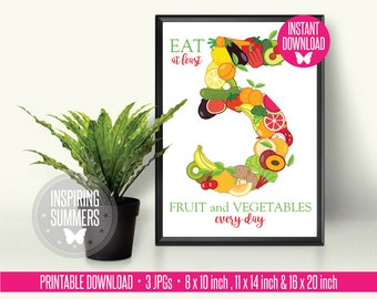 Educational Five a Day Healthy Eating Office, Kitchen or Classroom Fruit and Vegetable Poster